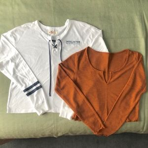 2 for 1: long-sleeve crop tops